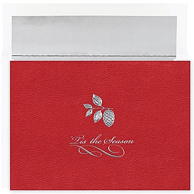 JAMMD – Ensemble de cartes du temps des fêtes Winter Wonderland comprenant 16 cartes et enveloppes, « Silver Pinecone On Red »