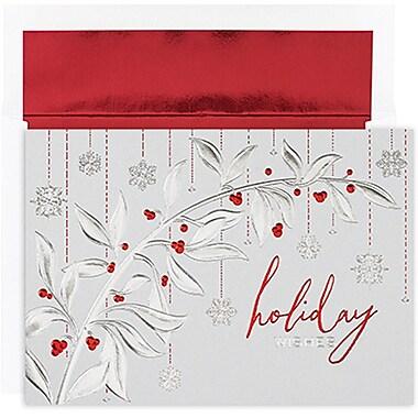 JAMMD – Ensemble de cartes du temps des fêtes Winter Wonderland comprenant 16 cartes et enveloppes, « Berry Branch & Flakes »