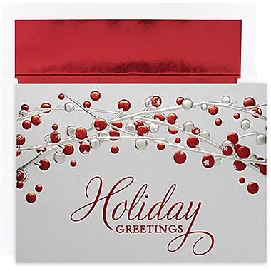 JAMMD – Ensemble de cartes du temps des fêtes Winter Wonderland comprenant 16 cartes et enveloppes, « Holiday Berries »
