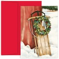 Jam® Home for the Holidays Card Set With 18 Cards and Envelopes, Holiday Sled