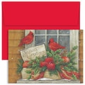 Jam® Home for the Holidays Card Set With 18 Cards and Envelopes, Cardinal Pair In Window