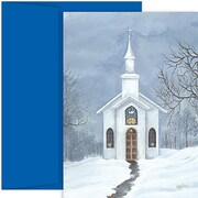 Jam® Home for the Holidays Card Set With 18 Cards and Envelopes, White Church