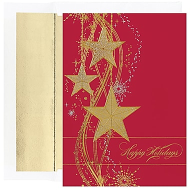 JAMMD – Ensemble de cartes de Noël Peace and Joy comprenant 16 cartes et enveloppes, « Shimmering Stars »