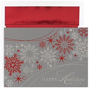 JAMMD – Ensemble de cartes de Noël Peace and Joy comprenant 16 cartes et enveloppes, « Shimmer Snowflakes »