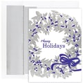Jam® Peace and Joy Christmas Card Set With 16 Cards and Envelopes, Silver Holiday Wreath