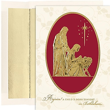JAM Paper® Christmas Holiday Cards Set, Peace and Joy Rejoice in Bethlehem, 16/Pack (526849300)