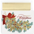 Jam® Peace and Joy Christmas Card Set With 16 Cards and Envelopes, Christmas Holly
