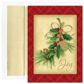 Jam® Peace and Joy Christmas Card Set With 16 Cards and Envelopes, Pine Cone & Holly