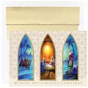 Jam® Peace and Joy Christmas Card Set With 16 Cards and Envelopes, Christmas Triptych