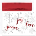 Jam® Peace and Joy Christmas Card Set With 16 Cards and Envelopes, Peace Joy Love
