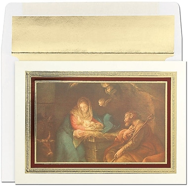 JAMMD – Ensemble de cartes de Noël Peace and Joy comprenant 16 cartes et enveloppes, « Framed Nativity Sculpture »