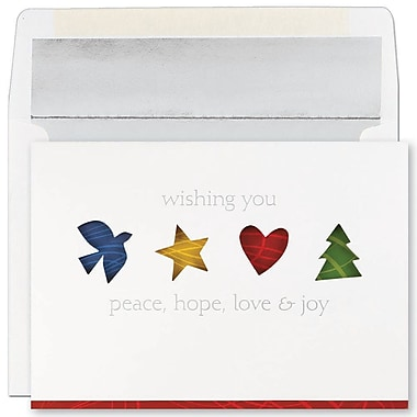 JAM Paper® Christmas Holiday Cards Set, Peace and Joy Four Holiday Icons, 16/Pack (52679260)