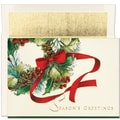 Jam® Peace and Joy Christmas Card Set With 16 Cards and Envelopes, Ribbon Wreath