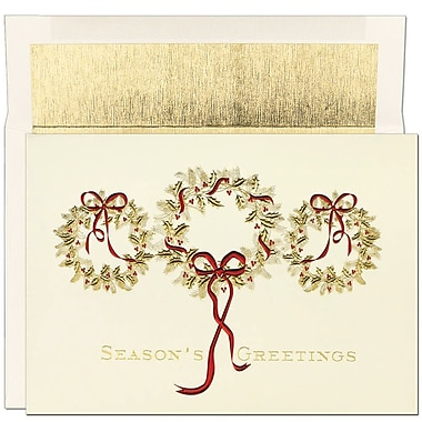 JAM Paper® Christmas Holiday Cards Set, Three Gold Wreaths, 16/Pack (526800700)