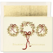 Jam® Peace and Joy Christmas Card Set With 16 Cards and Envelopes, 3 Gold Wreaths