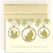 Jam® Peace and Joy Christmas Card Set With 16 Cards and Envelopes, Christmas Blessing Ornaments
