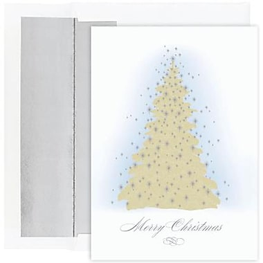 JAM Paper® Christmas Holiday Cards Set, Peace and Joy Frosted Tree, 16/Pack (526823300)