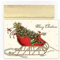 Jam® Peace and Joy Christmas Card Set With 16 Cards and Envelopes, Holiday Sleigh