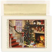 Jam® Peace and Joy Christmas Card Set With 18 Cards and Envelopes, Fireside Christmas