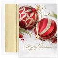 Jam® Peace and Joy Christmas Card Set With 18 Cards and Envelopes, Red & Gold Ornaments