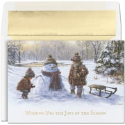 Jam® Peace and Joy Christmas Card Set With 18 Cards and Envelopes, Children In Snow