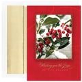 Jam® Peace and Joy Christmas Card Set With 18 Cards and Envelopes, Snowy Berries