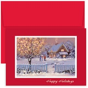 Jam® Peace and Joy Christmas Card Set With 18 Cards and Envelopes, Christmas Cottage
