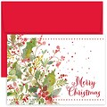 Jam® Peace and Joy Christmas Card Set With 18 Cards and Envelopes, Holly Watercolor