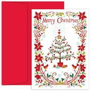 Jam® Peace and Joy Christmas Card Set With 18 Cards and Envelopes, Christmas Tree & Poinsettias