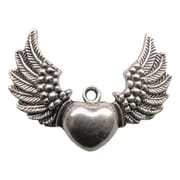 Fabscraps Silver Embellishments, Heart Wings
