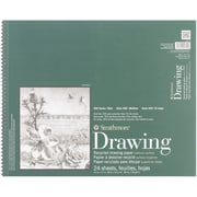 "Strathmore® 80 lbs. Recycled Drawing Paper Pad, 14"" x 17"", Bright white"