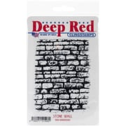 "Deep Red Stamps Rubber Stamp, 3"" x 4"", Stone Wall"