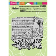 "Stampendous® Christmas Cling Rubber Stamp Sheet, 5 1/2"" x 4 1/2"", Cardinal Elements"