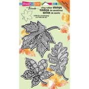 "Stampendous® Halloween Cling Rubber Stamp Sheet, 4"" x 6"", Penpattern Leaves"