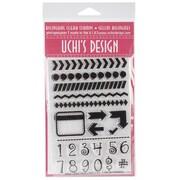 "Uchi's Design Bilingual Clear Stamp Set, 4"" x 6"" Sheet, Numbers & Borders"
