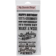 """My Favorite Things Clearly Sentimental Stamps Sheet, 4"""" x 8"""", Birthday Chalkboard Greetings"""