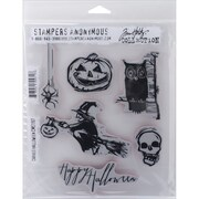 "Stampers Anonymous Tim Holtz Cling Rubber Stamp Set, 7"" x 8 1/2"", Carved Halloween"