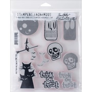 """Stampers Anonymous Tim Holtz Cling Rubber Stamp Set, 7"""" x 8 1/2"""", Halftone Halloween"""