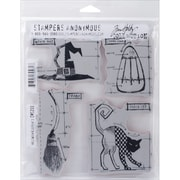"Stampers Anonymous Tim Holtz Cling Rubber Stamp Set, 7"" x 8 1/2"", Halloween Blueprint #3"