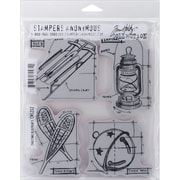 "Stampers Anonymous Tim Holtz Cling Rubber Stamp Set, 7"" x 8 1/2"", Christmas Blueprint #5"