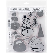 "Stampers Anonymous Tim Holtz Cling Rubber Stamp Set, 7"" x 8 1/2"", Halftone Christmas"