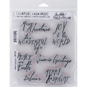 "Stampers Anonymous Tim Holtz Cling Rubber Stamp Set, 7"" x 8 1/2"", Handwritten Holidays #1"