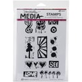Ranger Dina Wakley Media Cling Stamps, 6in. x 9in., Primitive Icons