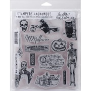 "Stampers Anonymous Tim Holtz Cling Rubber Stamp Set, 7"" x 8 1/2"", Mini Halloween #4"