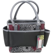 Mackinac Moon Open Top Square Tote With Foldable Dividers, Red/White/Black