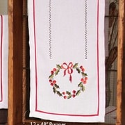 Xia Home Fashions Country Wreath Embroidered Hemstitch Holiday Table Runner; 28'' W x 12'' D