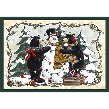 Custom Printed Rugs Home Accents Bears and Snowman Area Rug; 37'' x 52'' x 0.125''