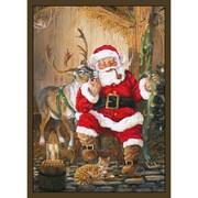 Custom Printed Rugs Home Accents Santa and Reindeer Area Rug; 37'' x 52'' x 0.125''