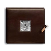 "Pioneer Sewn Leatherette D-Ring Scrapbook Box, 13"" x 14.5"", Brown"