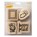 American Crafts 8in. x 6 1/2in. Amy Tangerine Plus One Wood Mounted Stamp, Attendant